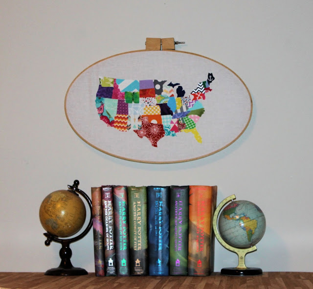 US fabric map framed in embroidery hoop