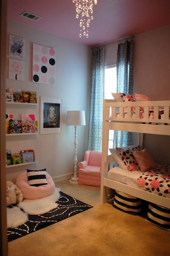 Shared Room Pink and Navy