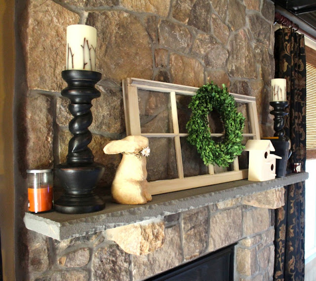 spring, mantel, window, boxwood wreath, bunny