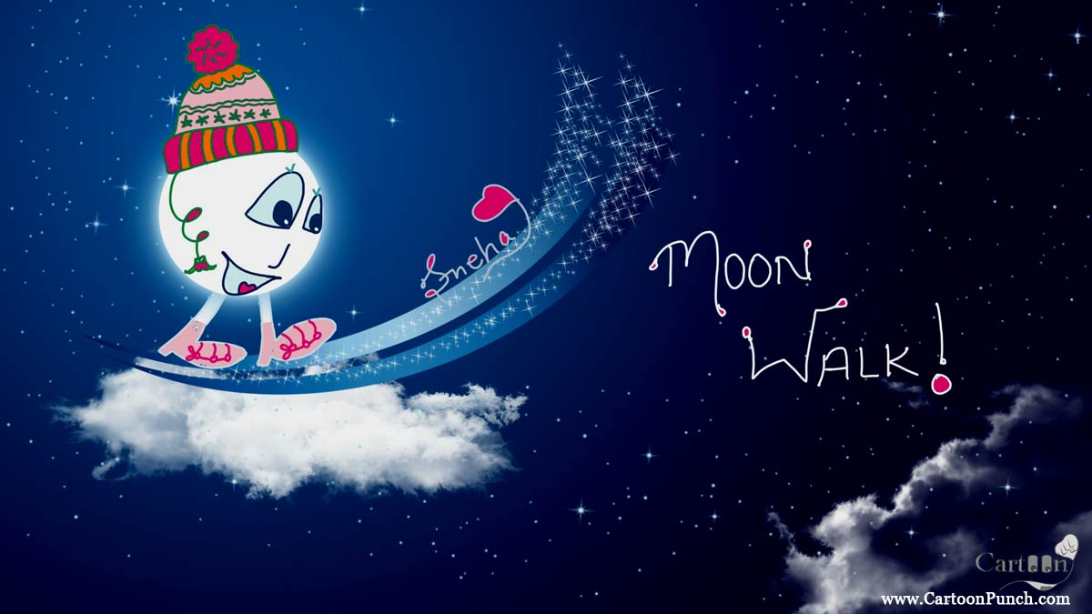 Moon Walk in woolen cap at sky could in winter night cartoons by sneha
