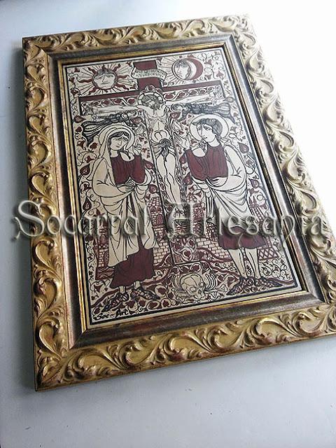En este bello diseño al estilo socarrat podemos ver a Juan el Bautista, María y José en el monte Gólgota. Soc-Art. Camateu