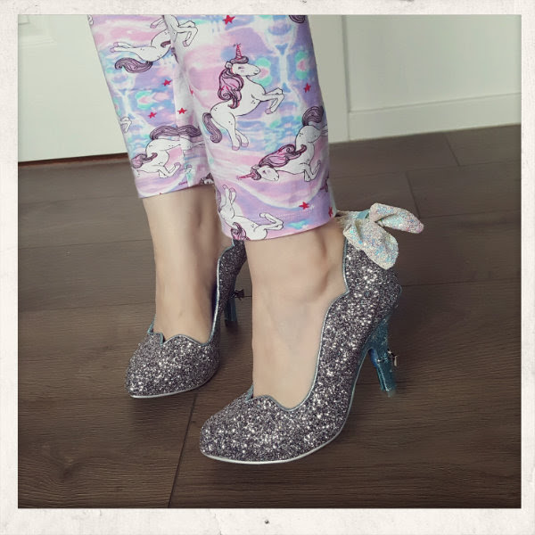 wearing irregular choice cinderella sparkling slipper shoes