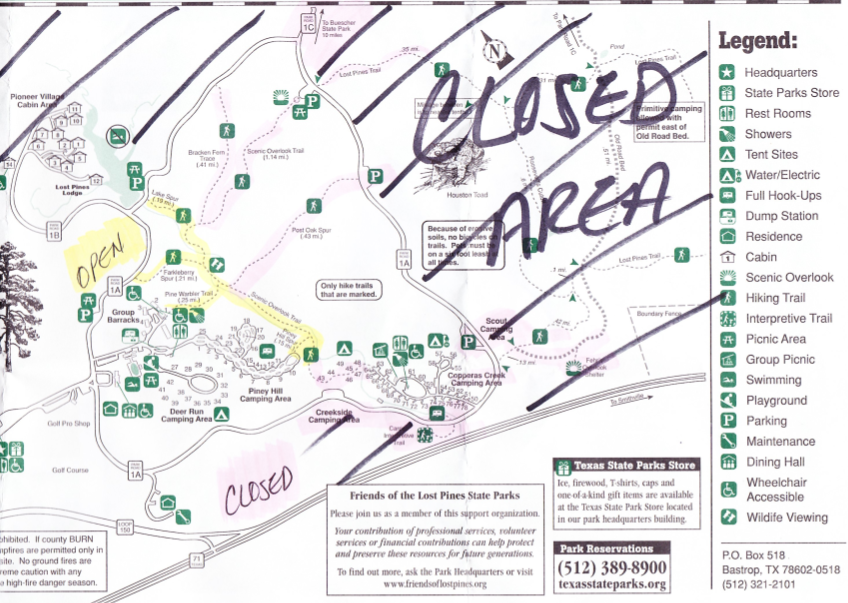 Bastrop State Park Map Bastrop State Park   Charred but Not Closed | Free Fun in Austin