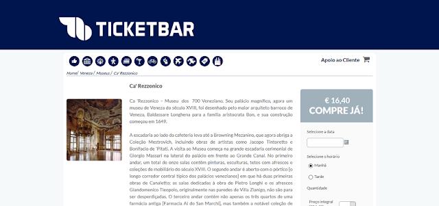 Ticketbar para ingressos para o passeio pelo Ca' Rezzonico em Veneza