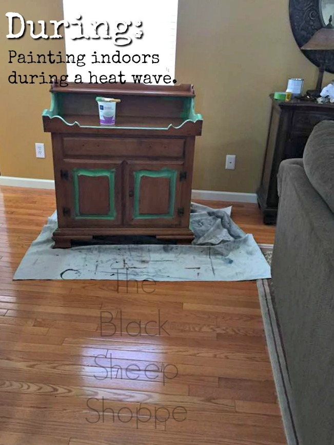 Setting up an indoor furniture painting area.