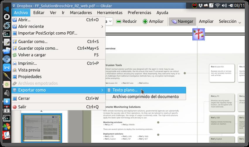 PDF a texto con Okular