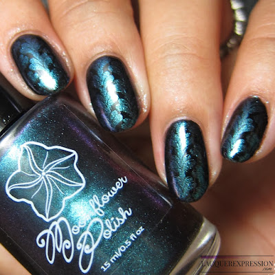 Moonflower Polish Celes-teal nail polish stamped over black