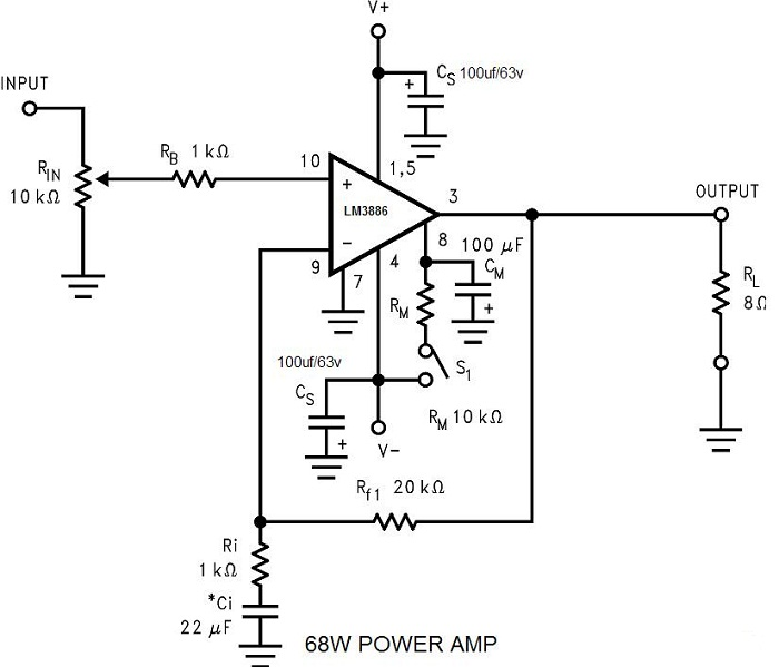 Schematic & Wiring Diagram: 68W Power Amplifier using LM3886