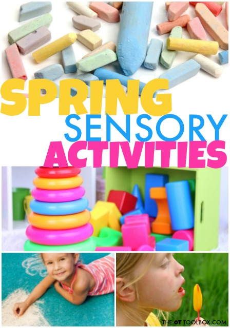Use these spring sensory activities to help kids with sensory processing needs to address areas of concern like bilateral coordination, gravitational insecurity, tactile defensiveness, tactile discrimination and other sensory needs.