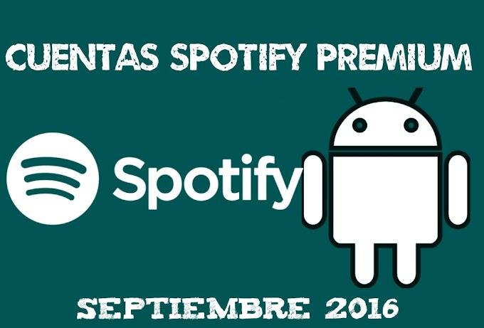 Cuentas spotify premium Septiembre 2016