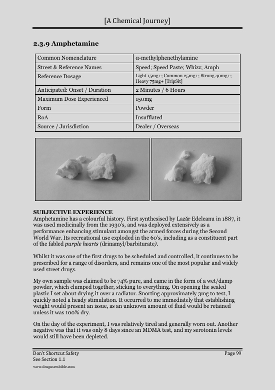 The Drug Users Bible: SAMPLE PAGE: AMPHETAMINE (SPEED)