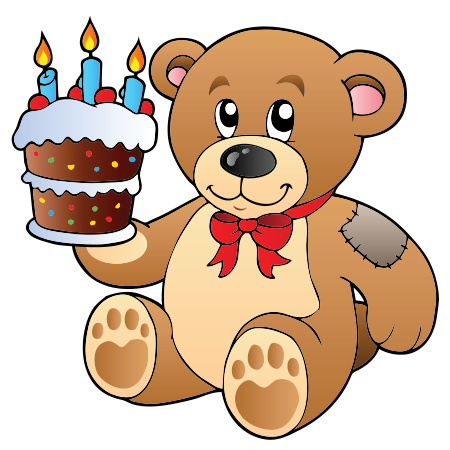 Teddy Bear with Birthday Cake