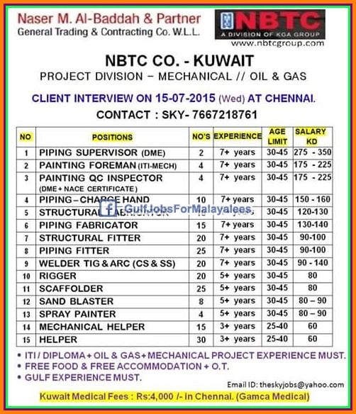 Nbtc Company Kuwait Job Vacancies Gulf Jobs For Malayalees