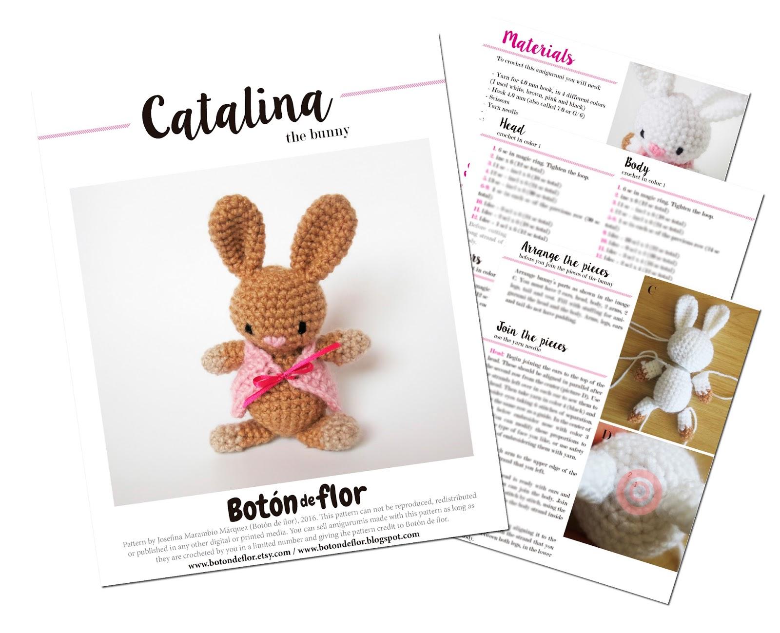 Botón de Flor: Patrones para tejer un oso y un conejo en crochet