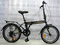 1 Sepeda Lipat Darson 6 Speed Shimano Rangka dengan Suspensi 20 Inci