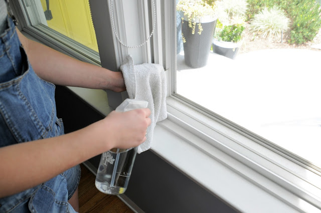 Window tracks get dirty and gritty - use a simple solution to clean them.