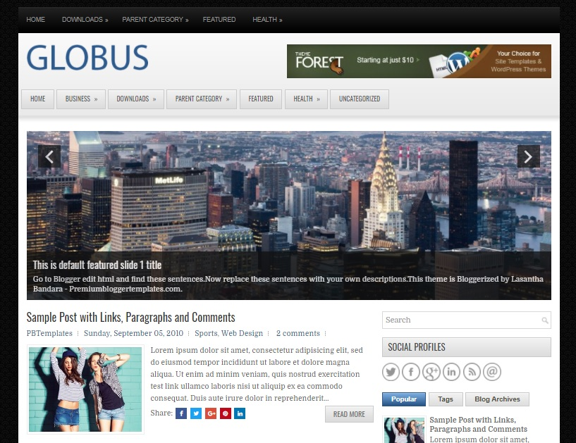 Columns Blogger Template amongst a Right Sidebar as well as  Free Download Globus Blogger Template