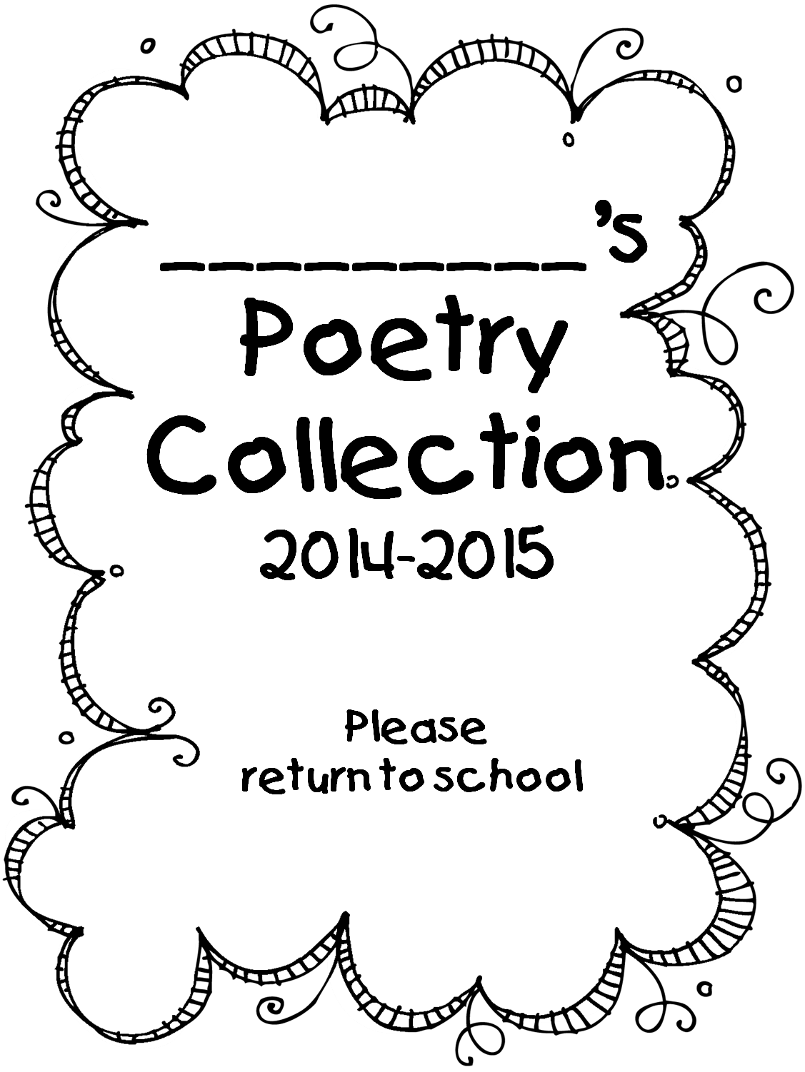 Examples Of Poetry Book Covers : First grade wow beginning of year forms and poetry folder