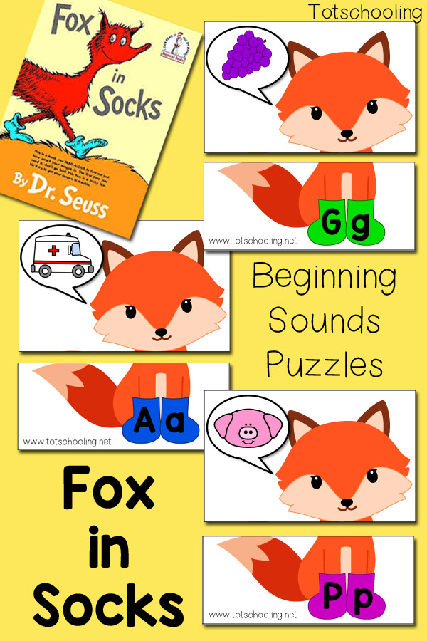 "FREE Dr. Seuss inspired printable for preschoolers and kinders to practice letter sounds and the alphabet, after reading the classic book ""Fox in Socks"". Perfect literacy activity for Read Across America Day or week."