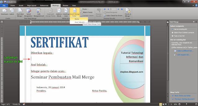 Langkah-Langkah Membuat Mail Merge pada MS Word