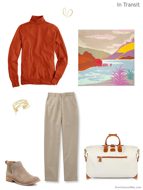 a travel outfit in sand and deep orange