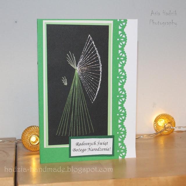 615. Zielone, wyszywane kartki bożonarodzeniowe