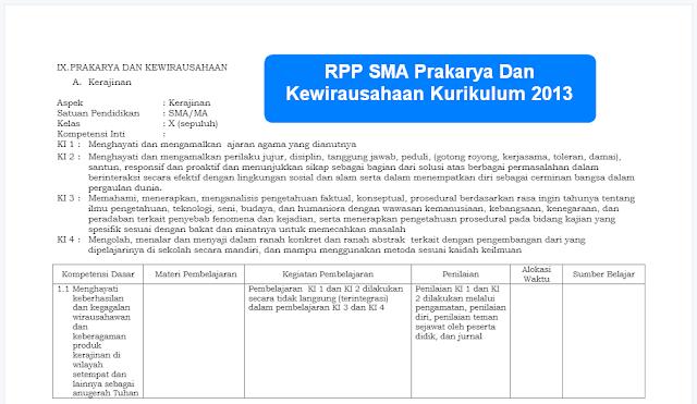 RPP SMA Prakarya Dan Kewirausahaan Kurikulum 2013