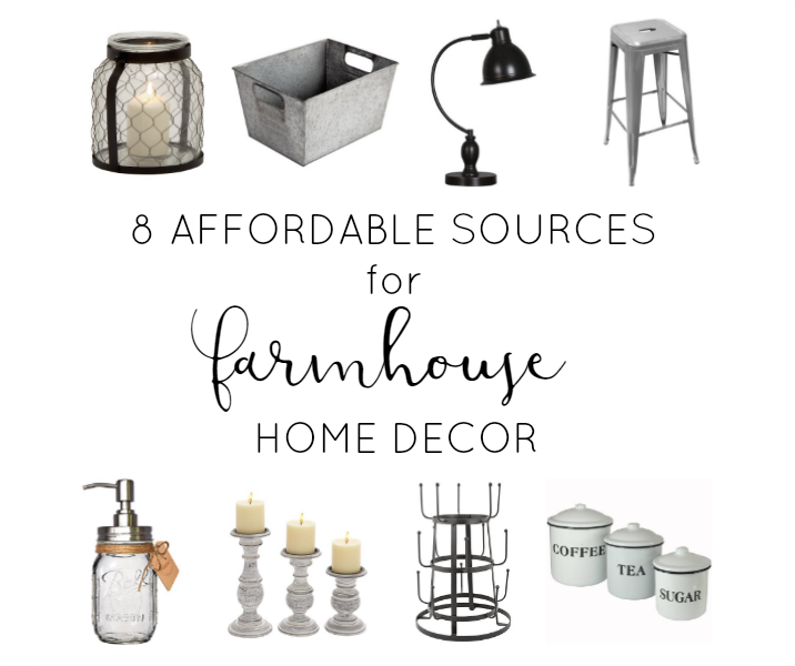 8 budget friendly sources for farmhouse style home decor accessories! Great list of where to shop online!