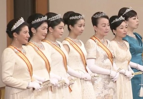 Crown Princess Masako (wearing the Pearl Sunburst Tiara and the Order of the Precious Crown. Princess Kiko wearing her Wedding Tiara