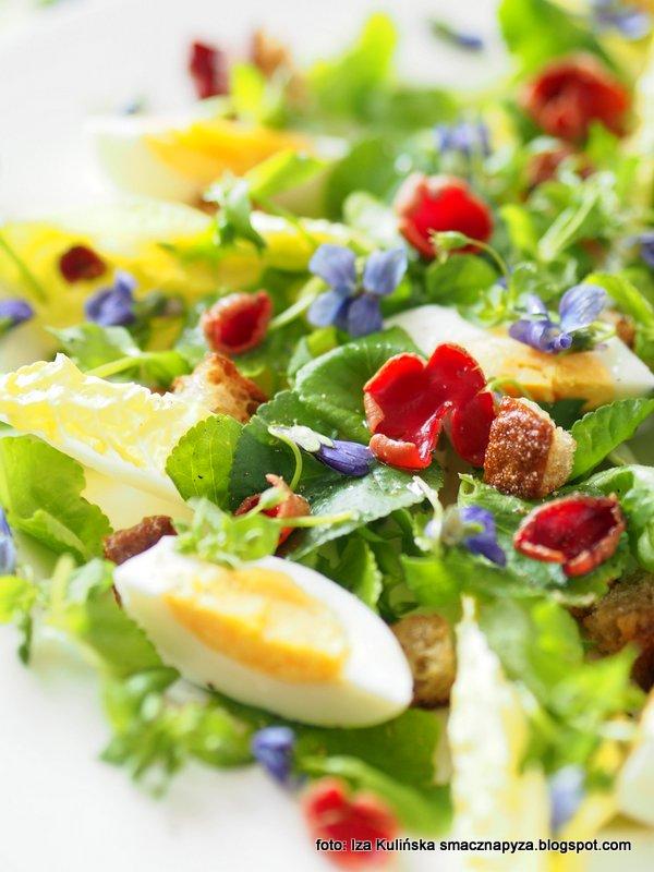 salatka z kwiatkami i grzybami, mlode liscie, soczyste pedy, dzikie rosliny jadalne, dary lasu, z lasu na stol, dary natury, gwiazdnica, fiolki, czarka