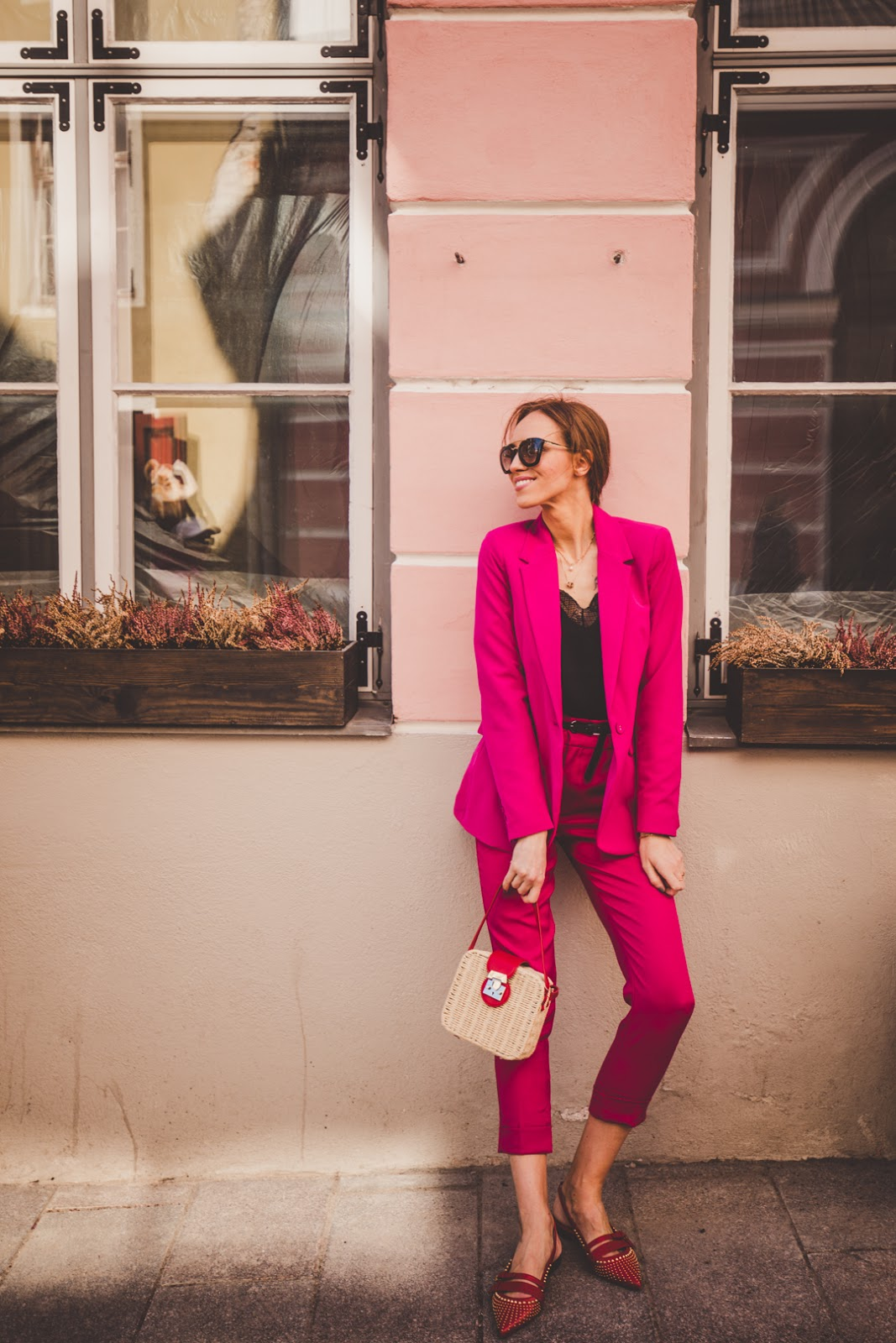 hot pink power suit outfit spring
