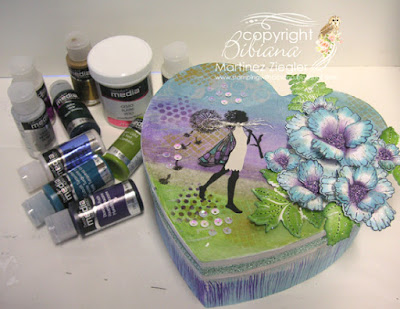 gift box mix media fluids decoart paints