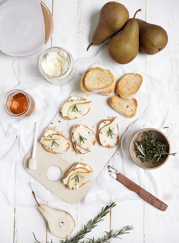 Whipped feta, pear and rosemary crostini recipe by The Merrythought