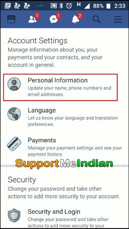 click personal information in facebook account