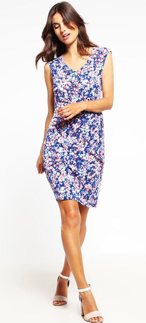 Robe courte d'été bleu marine à fleurs Esprit Collection