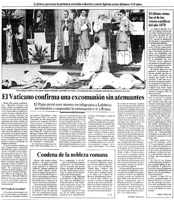 Resultado de imagen para prensa excomunión lefebvre 1988