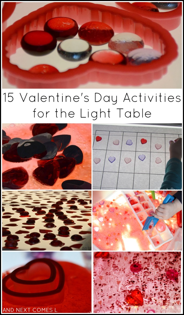 15 Valentine's Day activities for the light table from And Next Comes L