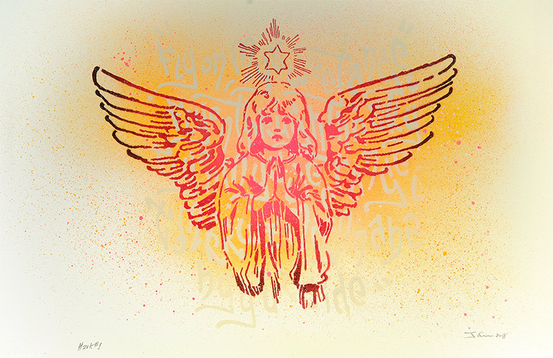 Hark - a spraypaint artwork of an angel by artist James Straffon