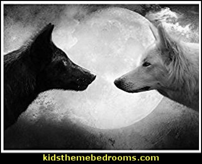 Black Wolf and White Wolf - Wildlife Animal Art Print Poster