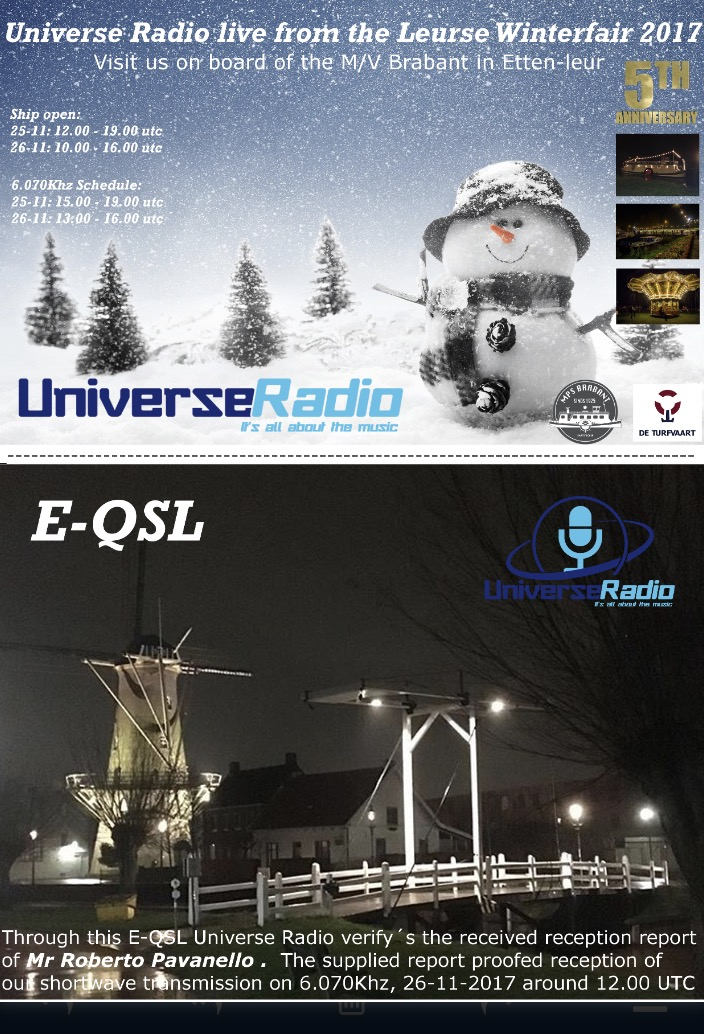 PlayDX: Universe Radio QSL & Radio Caroline North 648 kHz heard