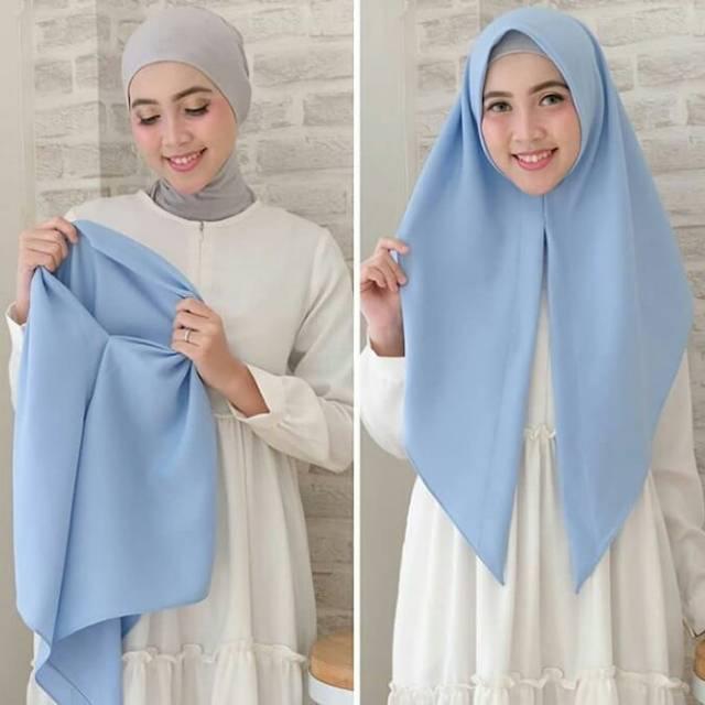 Jilbab Segitiga Instan Diamond Italiano Polos Terbaru Warna Biru