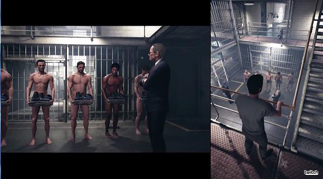 A Way Out prison partial nudity showers uniforms jumpsuits split screen co-op cutscene warden