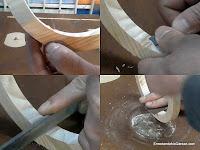 Retocar con formón, limar y lijar interior del aro de madera. http://www.enredandonogaraxe.com