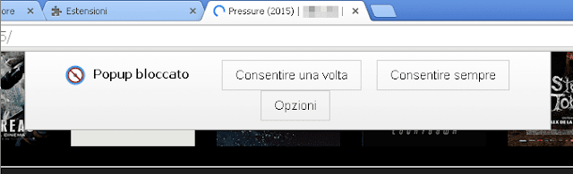 Poper Blocker Chrome notifica popup bloccato