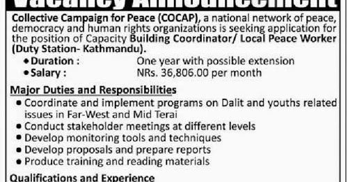 Local Peace Worker Wanted at Collective Campaign for Peace
