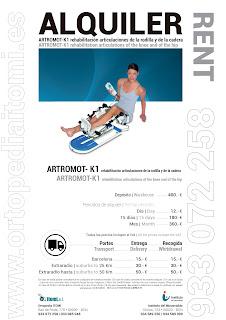 ALQUILER ARTROMOT-K1 REHABILITACIÓN BARCELONA
