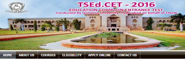http://www.paatashaala.in/2016/03/tsedcet-2016-telangana-bed-entrance-test-notification.html A Common Entrance Test, designated as Telangana State Education Common Entrance Test-2016 (TSEd.CET-2016) will be conducted by the CONVENER, TSEd.CET-2016,  Osmania University, Hyderabad on behalf of the Telangana State Council of Higher Education for admission in to B.Ed (Two years) Regular Course in the Colleges of Education in Telangana State for the academic year 2016-2017. Telangana State Education Common Entrance Test (TS Ed.CET – 2016) for the year 2016 will be conducted by Osmania University, Hyderabad in accordance with G.O. Ms. No. 72 (SE Trg-1) Dept. dt. 05-07-2004 for admission into B.Ed. (Two Years) regular course in the Colleges of Education in Telangana State for the academic year 2016-2017. Eligible Candidates should submit their applications ONLINE mode only from 14.03.2016. Application registration fee of Rs. 300/- (Rs.150/- for SC/ ST) should be paid at TS Online/AP Online/Mee-Seva/E-Seva Centres in Telangana State or A.P/ through Payment Gateway (Credit card/Debit card). The detailed information regarding the eligibility, syllabus, model paper, related instructions and procedure for online submission of applications are available on the website www.tsedcet.org