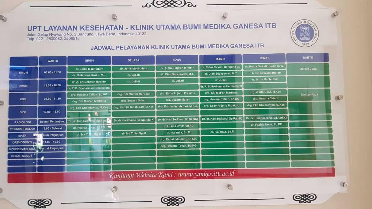 Jadwal dan daftar dokter praktek di klinik Bumi Medika Ganesa ITB