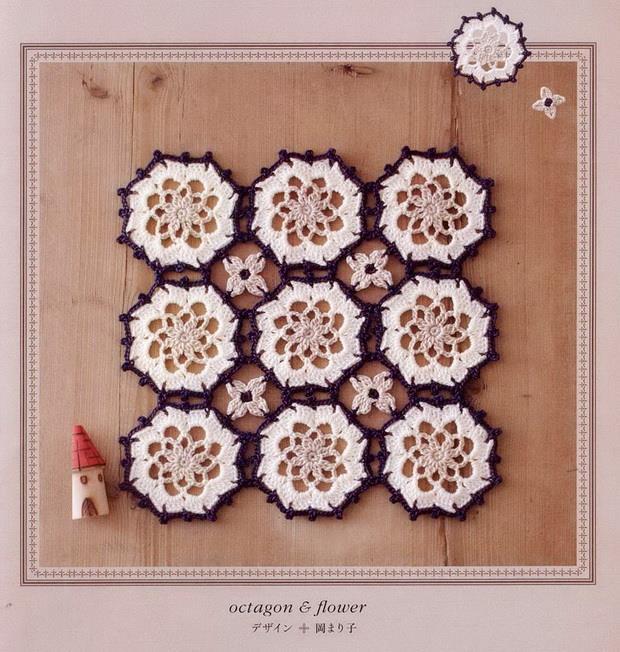 Crochet Octagon-motif, flower motif