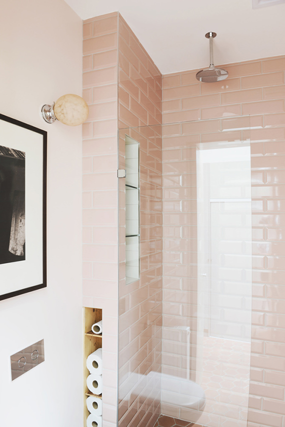 Pink subway bathroom tiles | Hearth Studio